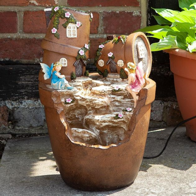 Solar Elvedon Plant Pot Water Fountain