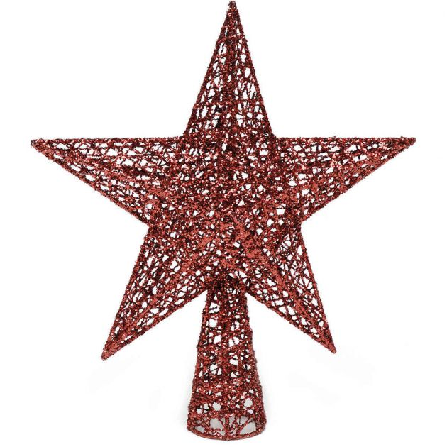 30cm Red Glittered Star Christmas Tree Topper Decoration