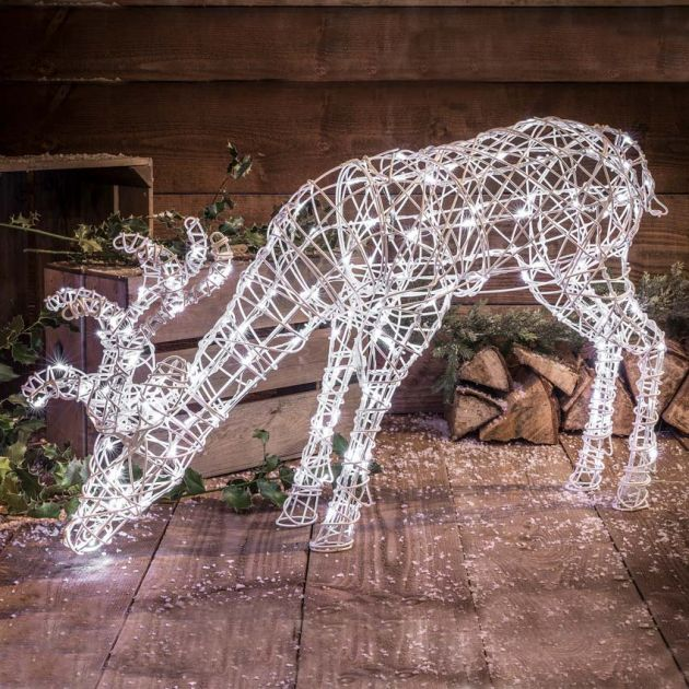 90cm Outdoor Grazing Reindeer Figure, 160 White LEDs