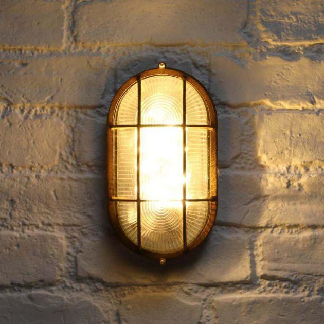 23cm Outdoor Solar Bulkhead Rustic Wall Light