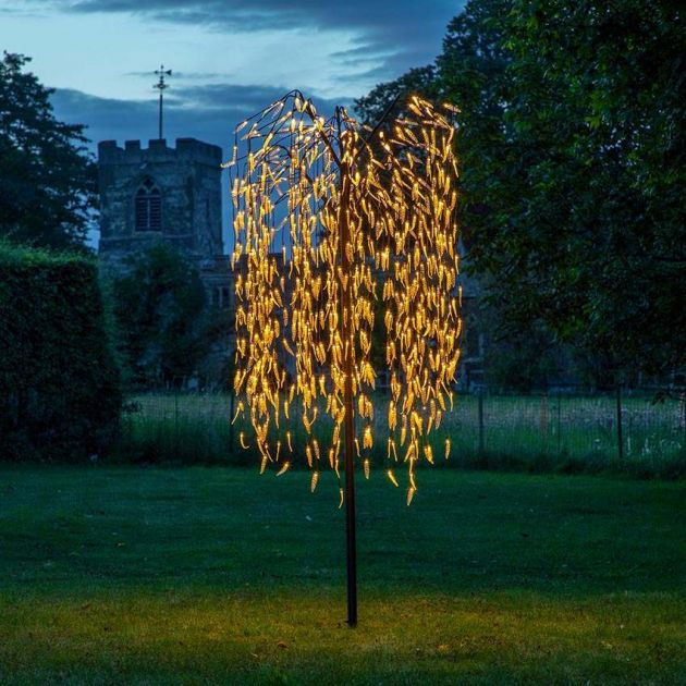 2.4m Outdoor Plug In Willow Tree, 810 Warm White LEDs