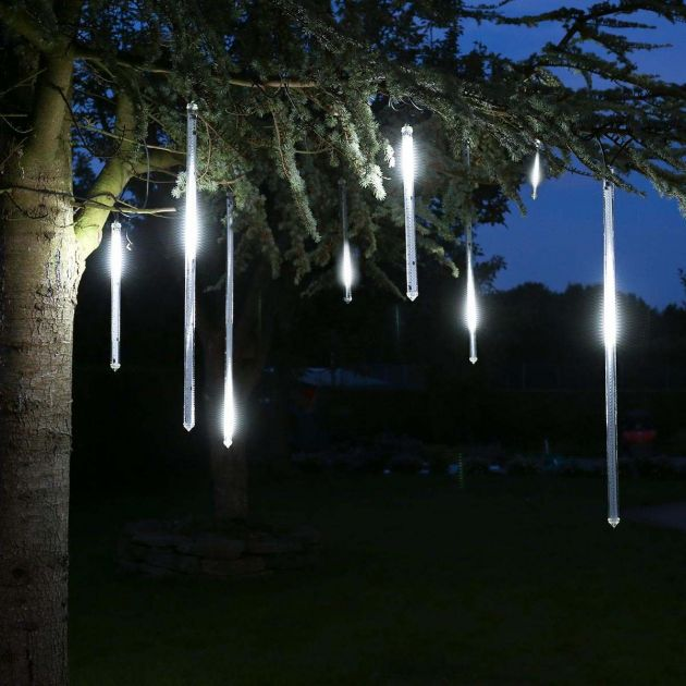 8m Outdoor Christmas Icicle Tube Lights, 5 x 50cm Drop