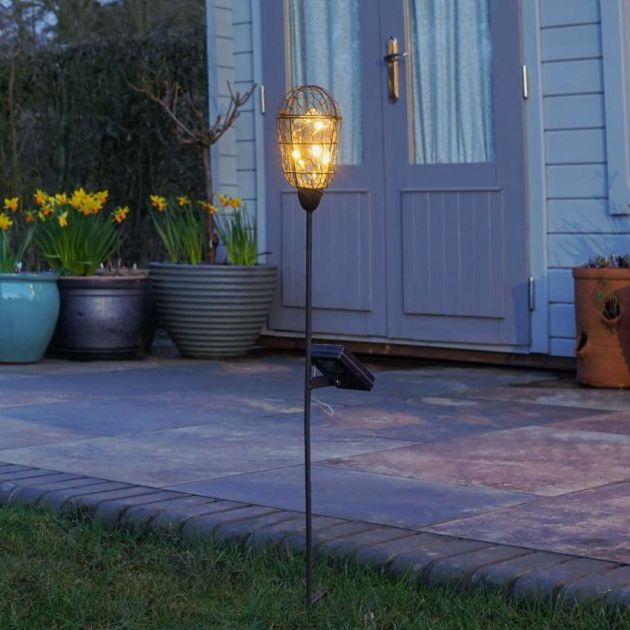 Solar Copper Festoon Bulb Stake Light