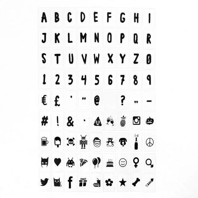 127 Black Brush Stroke Font Letter, Number & Symbol Pack for A4 Light Box