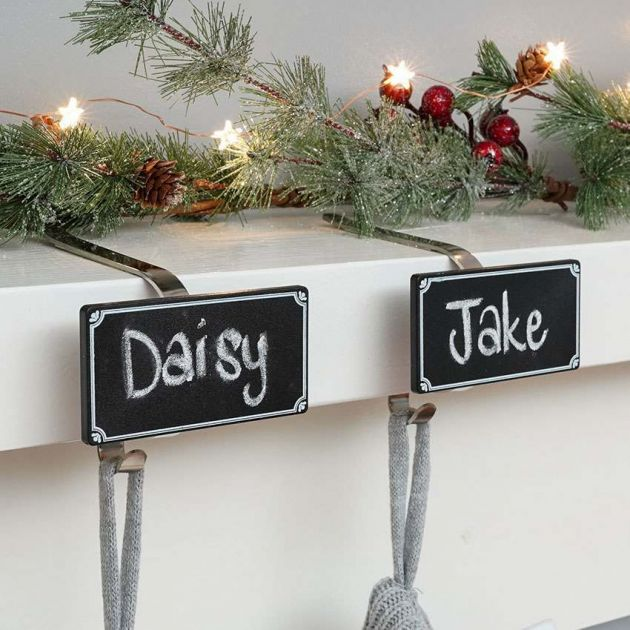 Personalised Mantle Clips with Chalkboard, 2 Pack