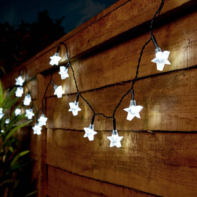 5m Outdoor Battery Star Fairy Lights, Green Cable
