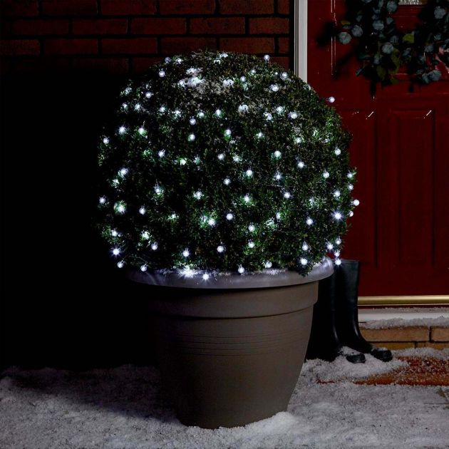 10m Outdoor Battery Clear Berry Fairy Lights, White LEDs, Green Cable