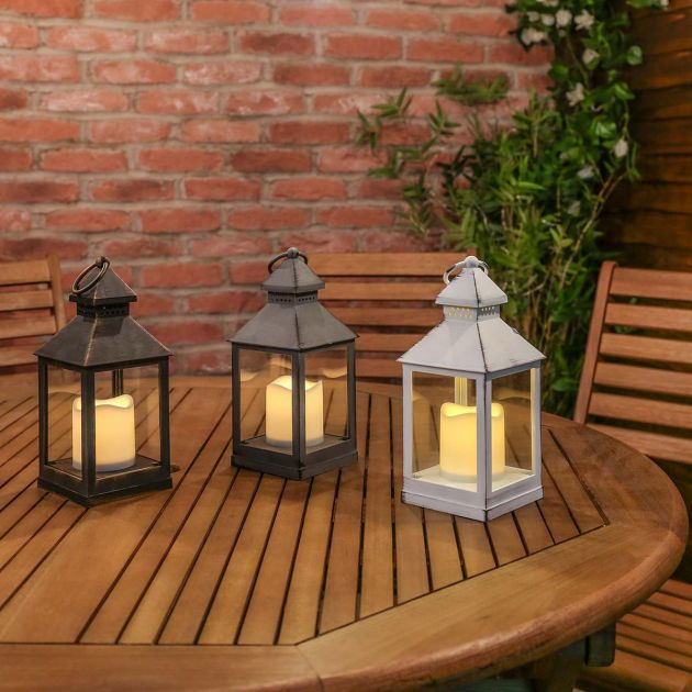 Outdoor Battery Flickering Candle Lantern, 24cm