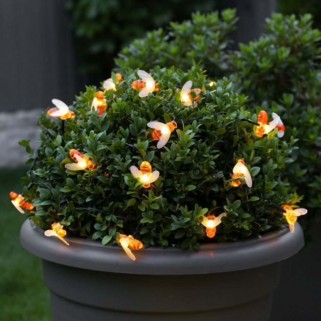 5m Outdoor Battery Bee Fairy Lights, Warm White LEDs, Green Cable