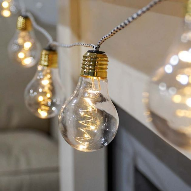 Battery Festoon Lights on Fabric Cord