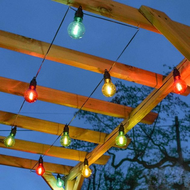 Outdoor Plug In Filament Effect Multi Coloured LED Festoon Lights