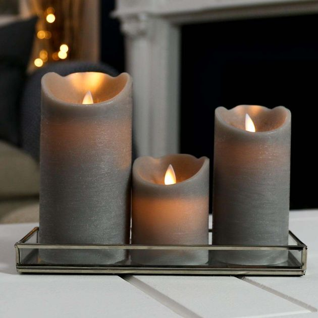 Grey Battery Dancing Flame Candles, 3 Pack