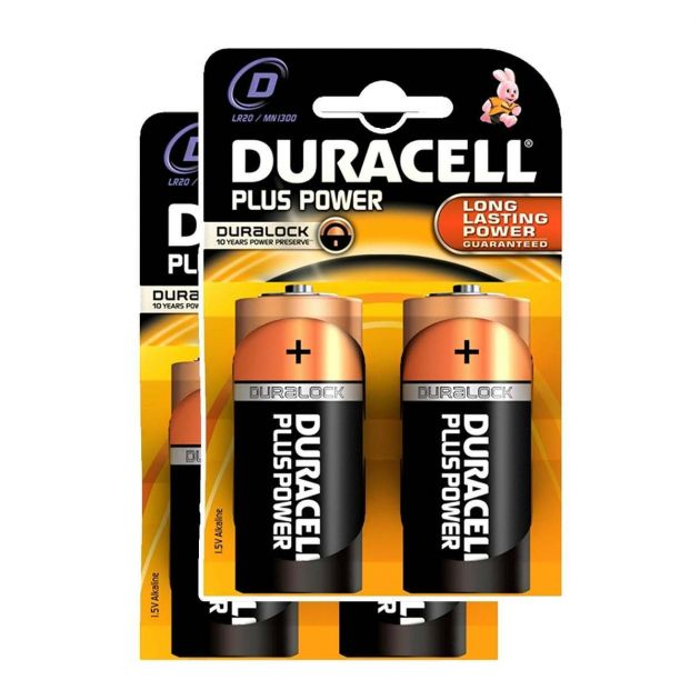 Duracell Alkaline Batteries - D (Type) Pack of 4