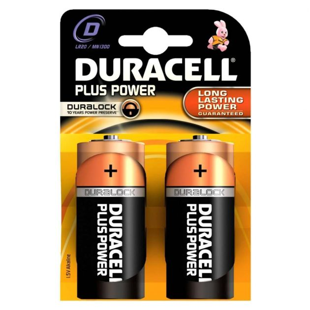 Duracell Alkaline Batteries - D (Type) Pack of 2