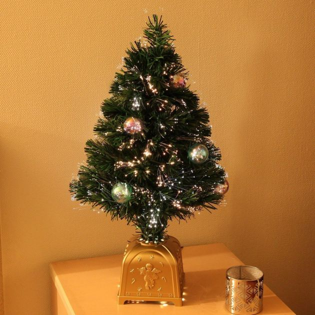 2ft Artificial Fibre Optic Table Top Christmas Tree with Bauble Decorations