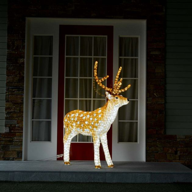 1.5m Outdoor Male Reindeer Figure, 2080 White LEDs