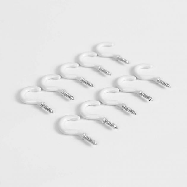 Outdoor White Cup Hooks for Walls and Ceilings, 10 Pack