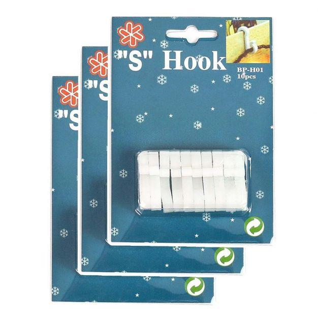White 'S' Gutter Hooks for 15 metre Lights, 30 Pack