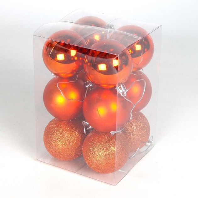 12 x 6cm Assorted Finish Shatterproof Christmas Tree Baubles