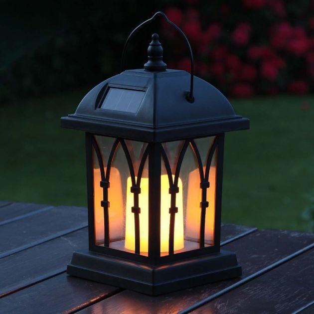 Solar Flickering LED Candle Lantern, 27cm