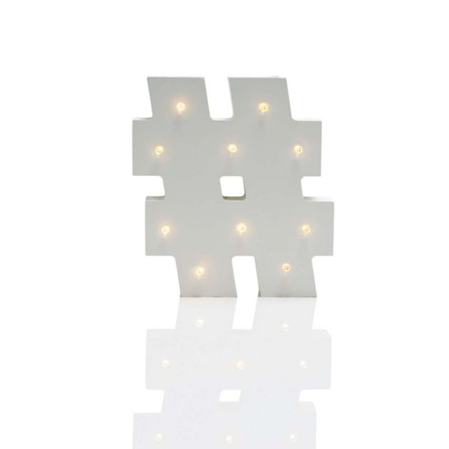 Wooden 'Hashtag' Battery Light Up Circus Letter, Warm White LEDs, 16cm