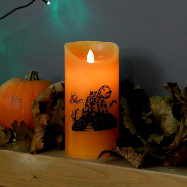 18cm Battery Halloween Dancing Flame Candle with Spooky Figure