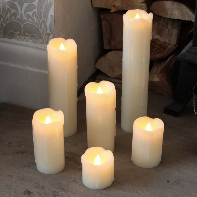 6 Battery Flickering Dripping Wax Pillar LED Candles