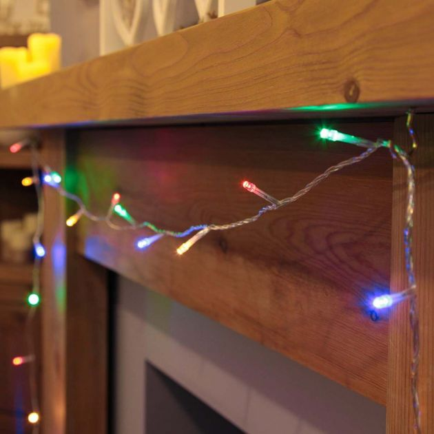 10m  Indoor Fairy Lights, 100 Multi Colour LEDs, Clear Cable