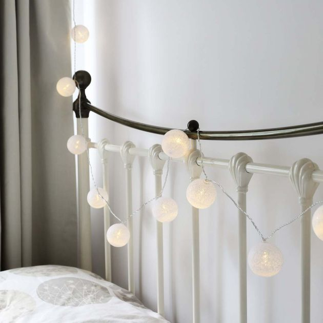 White Battery Cotton Ball Fairy Lights, 10 Warm White LEDs