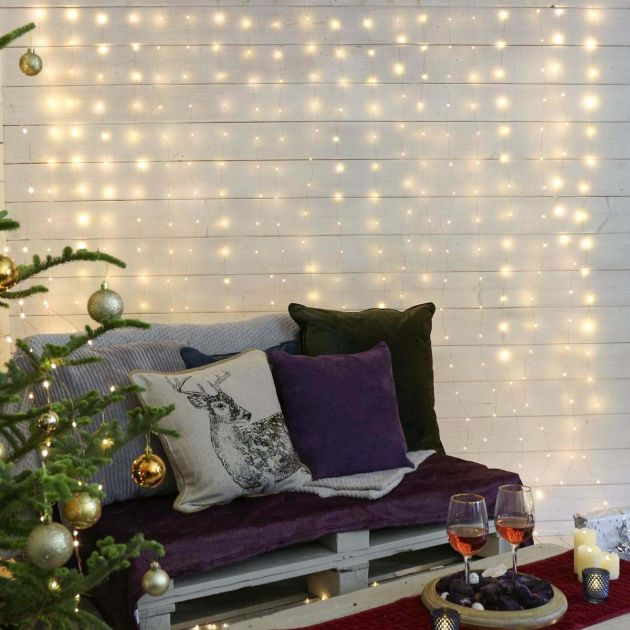 2m x 2m Plug In Copper Firefly Wire Curtain Lights, 400 Warm White LEDs