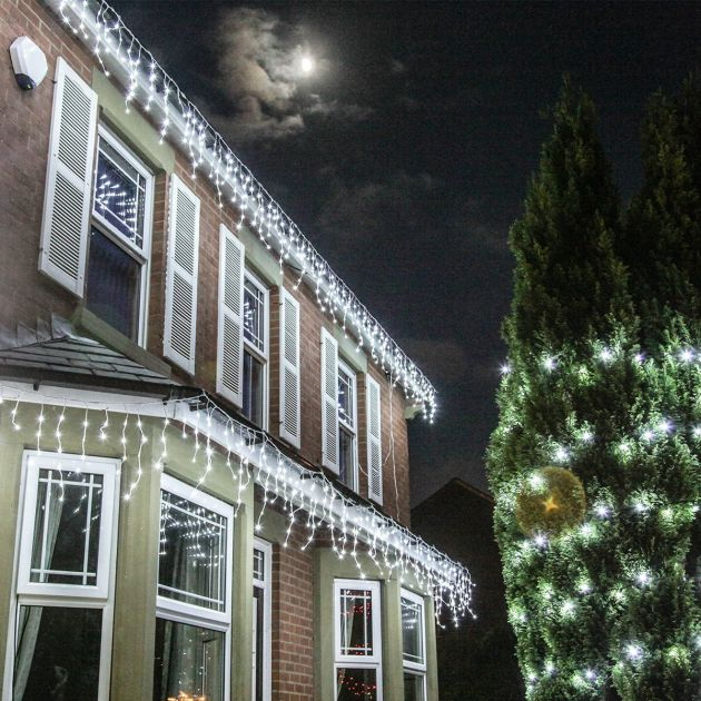 Outdoor LED Icicle Lights, Connectable, White Cable