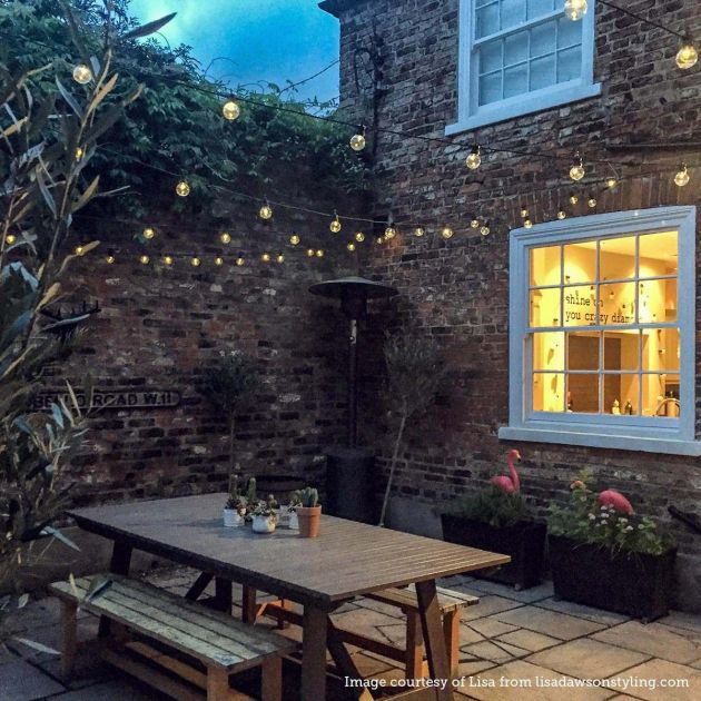 Outdoor Festoon Lights, Connectable, Warm White LEDs, Clear Bulbs, Black Cable