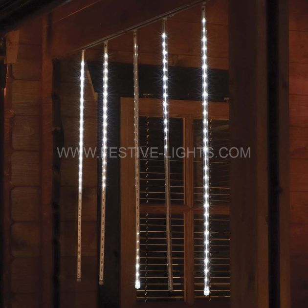 2m Outdoor Snowfall Icicle Lights, 150 White LEDs, 5 x 70cm Drop