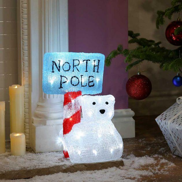 35cm Outdoor Acrylic Baby Polar Bear with North Pole Sign