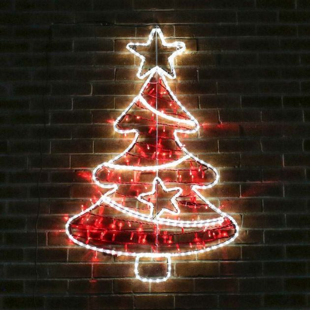 1.3m Aluminium Large Outdoor LED Rope Light Christmas Tree Motif