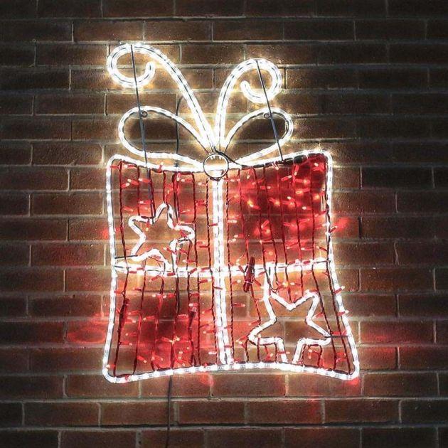1.1m Aluminium Large Outdoor LED Rope Light Christmas Present Motif