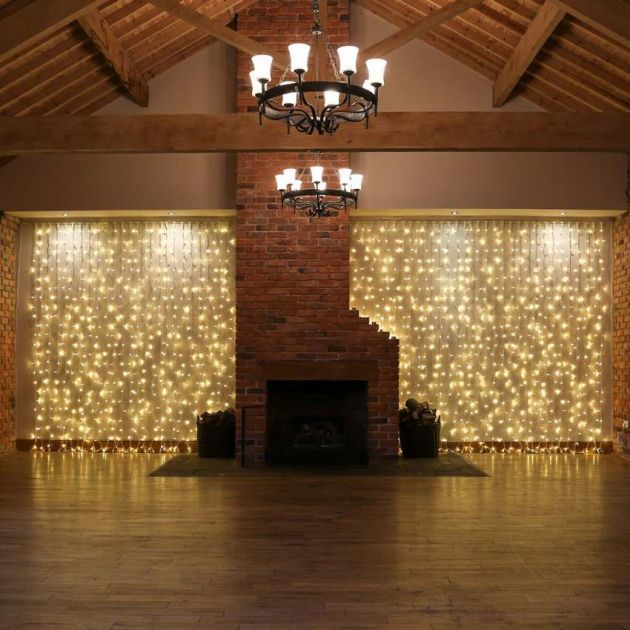2m x 3m Warm White Curtain Lights, Connectable, 432 LEDs, White Rubber Cable