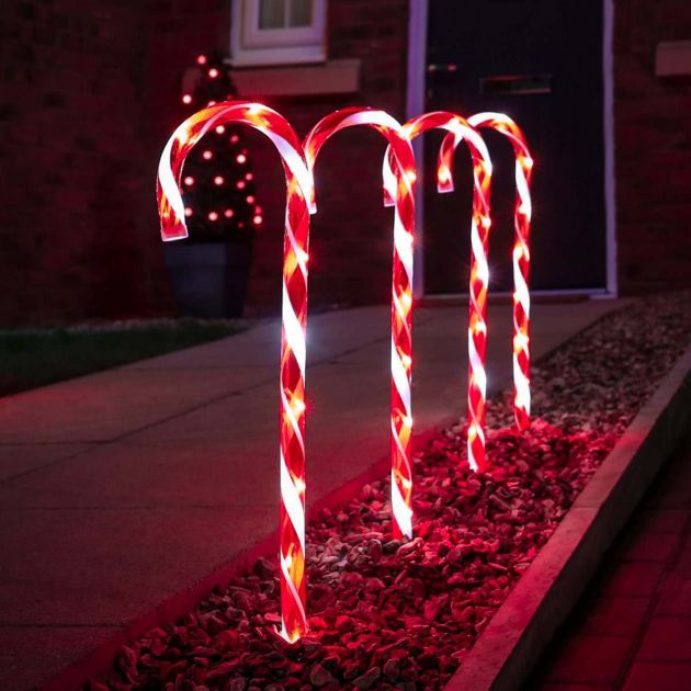 Outdoor Red and White Candy Cane Christmas Stake Lights, 4 Pack