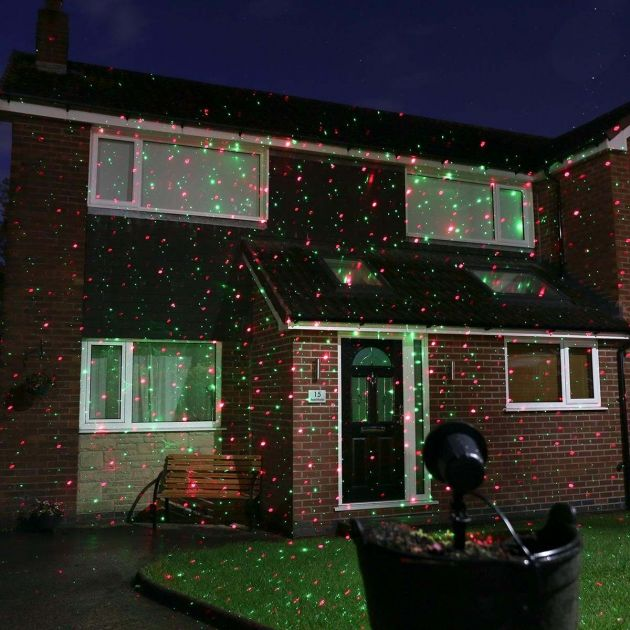 Outdoor Christmas Laser Light Projector with Remote, Red and Green LEDs