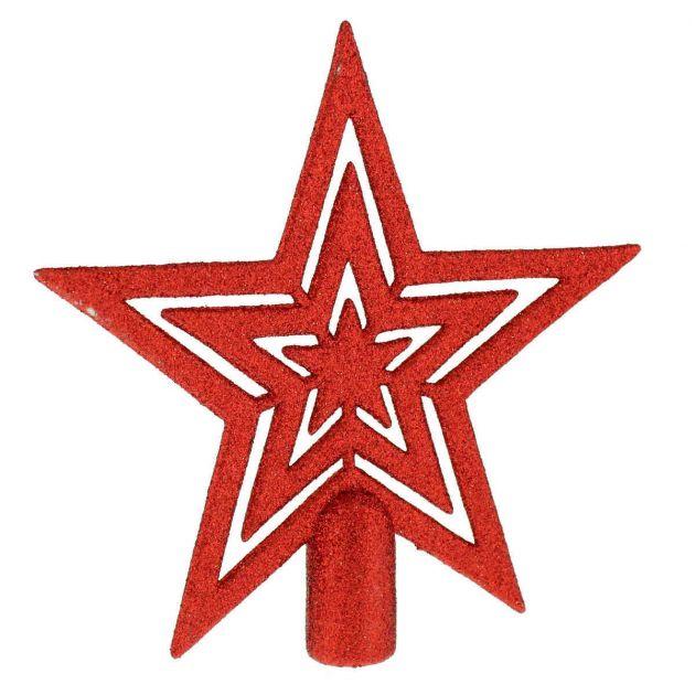 17cm Glittered Star Christmas Tree Topper Decoration