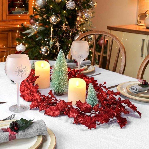 1.8m Glittered Berry Christmas Garland