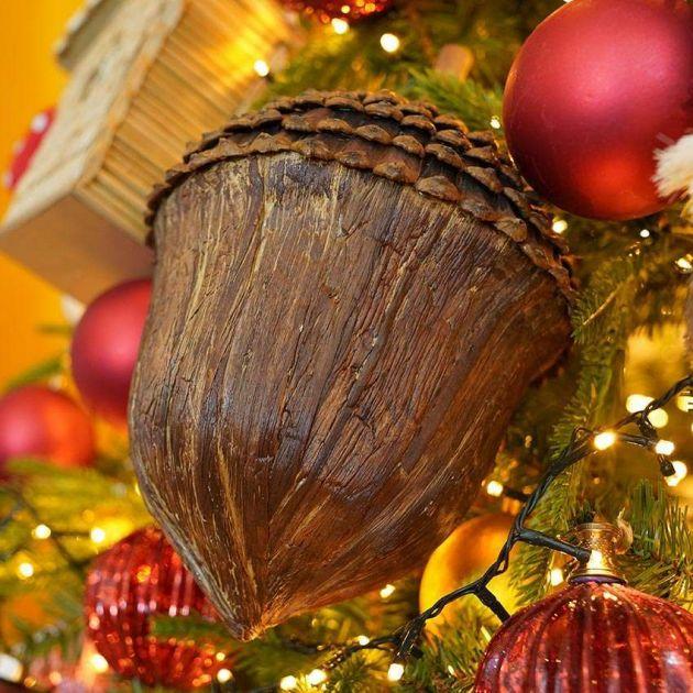 30cm Hanging Brown Acorn Christmas Decoration