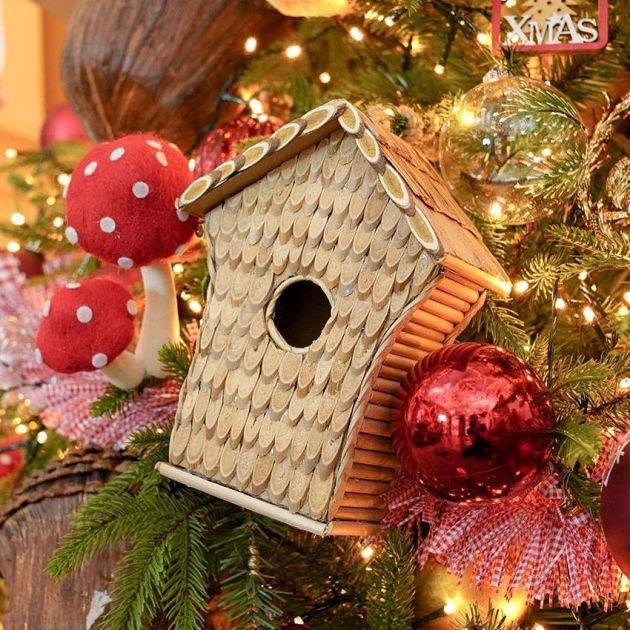 22cm Hanging Brown Bird House Christmas Decoration