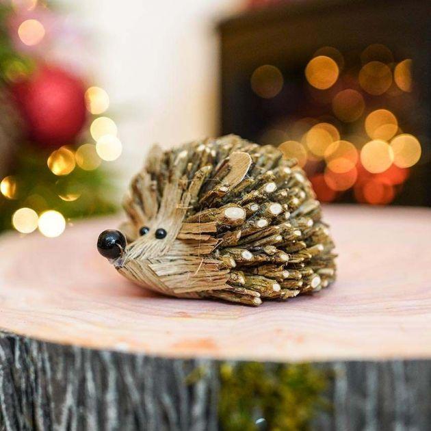 12cm Brown Wooden Tabletop Hedgehog