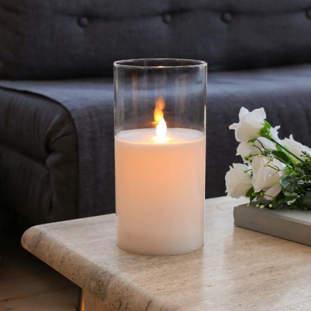 White Battery Wax Candle in Clear Glass Cylinder, 20cm
