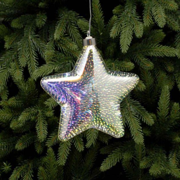 18cm Battery Glass LED Star Christmas Hanging Light
