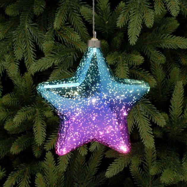18cm Purple & Blue Battery Glass LED Star Hanging Light