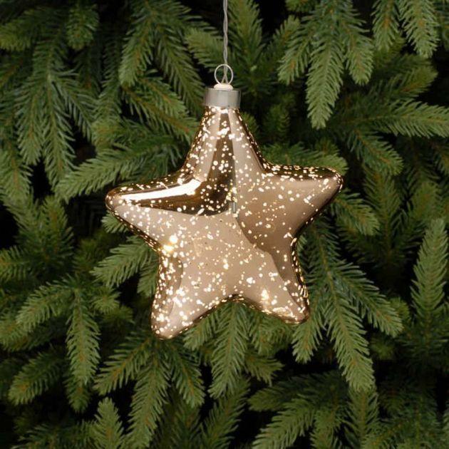 15cm Gold Battery Glass LED Star Christmas Hanging Light