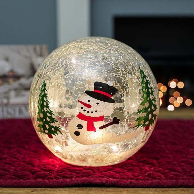 20cm Battery Tabletop Crackle Effect Snowman Ball