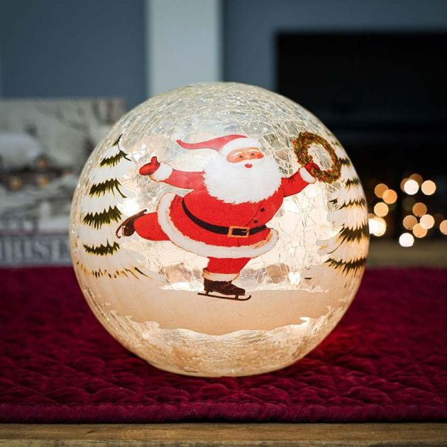 15cm Battery Tabletop Crackle Effect Santa Ball
